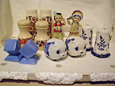 S & P Shakers X 6(Six) Pairs Retro English/german /victoria/delft/japan Bulk Lot