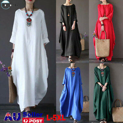 AU Plus Size Womens Cotton Linen Baggy Maxi Dress Gypsy Dress Long Tunic Dresses
