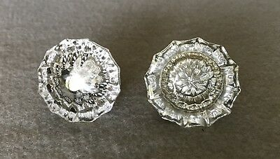 Two Antique Vintage 12 point Glass and Brass Architectural Salvage Door Knobs