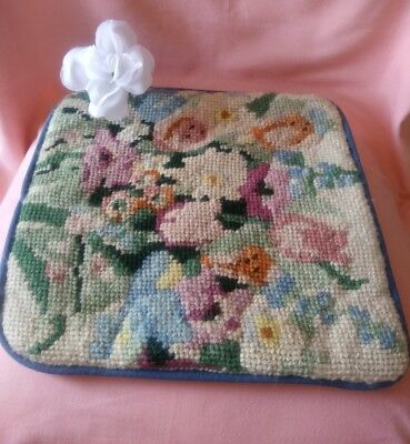 Vintage Handmade Needlepoint Blue Pink Green Florals Square Throw Pillow