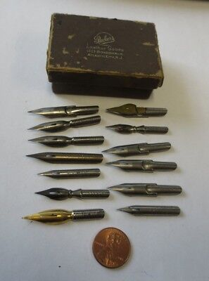 Vintage PARKER Fountain Pen Box & (13) Assorted Tips