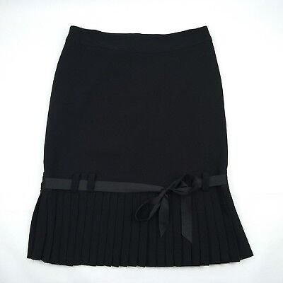 JACQUI E - Black Lined Pleated Skirt & Bow Women's Size 10 Made in Australia