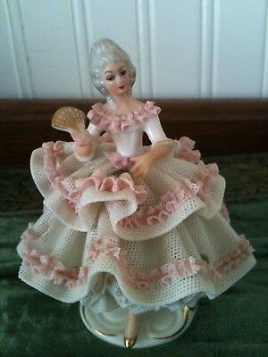 Dresden Lace Figurine Victorian Woman with Fan Collectible Antq HTF  Rare