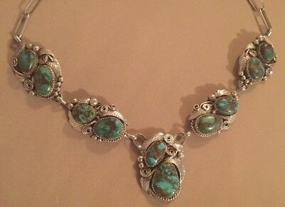 Vintage Navajo Handmade Sterling Silver Necklace - 5 Turquoise Pendants - 21 In.