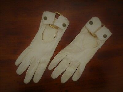 Funky 1960s vintage dark cream soft leather gloves with brass trims size 6.5 - 7