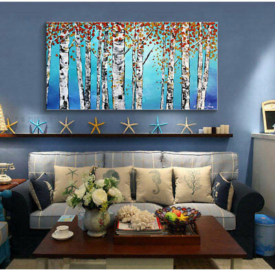 """MODERN ABSTRACT Hand-Painted OIL PAINTING CANVAS """"White birches""""(No Frame)"""