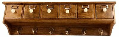 Rustic Country Cottage Wall Hanging Shelf with Coat & Key Hooks
