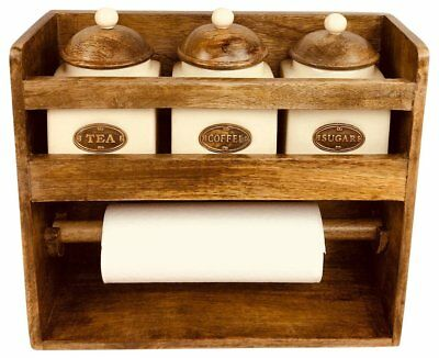 Rustic Country Cottage Wooden Kitchen Roll Holder Tea, Sugar Coffee Jars