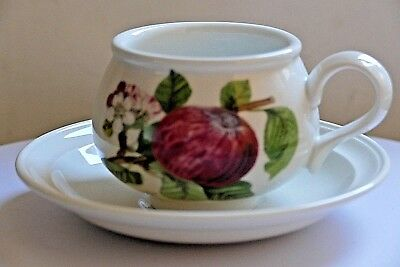 PORTMEIRION POMONA ~ TEA CUP & SAUCER ~ THE HOARY MORNING APPLE Pattern.