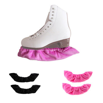 2 Pairs Terry Blade Guards / Covers For Ice Skates - Black and Pink
