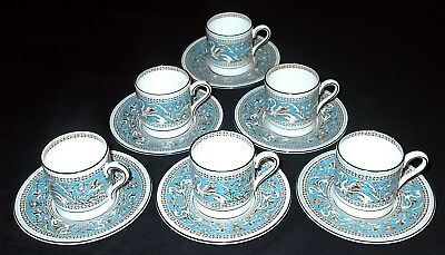 SIX Wedgwood FLORENTINE (Turquoise) Coffee Cups / Cans and Saucers