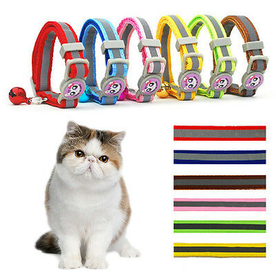 12PCS Pet Cat Safety Collar with Bell Reflective Breakaway Kitten Dog Collar FR