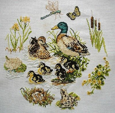 Completed Counted Cross Stitch Unframed Picture Ducks & Baby Cygnets