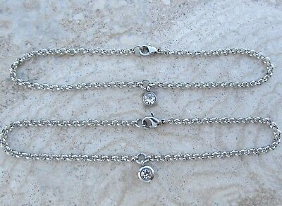 Stainless Steel Belcher / Rolo Chain Anklet with Rhinestone Charm Square / Round