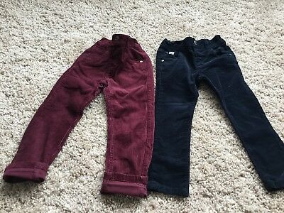 Boys Next Cord Jeans X 2 Bundle Navy Maroon Age 2-3 Years
