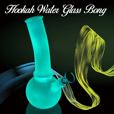 10''Luminous Hookah Water Glass Bong Smoking Pipes Glassware Shisha Tobacco Bowl