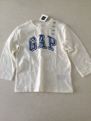 Gap Baby White Long Sleeve Logo Top 18-24month BNWT