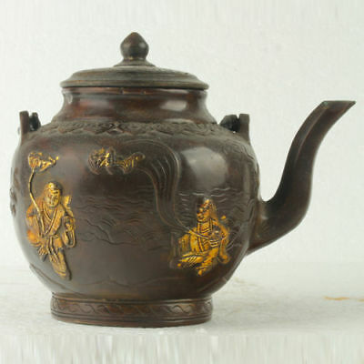 Chinese antique copper gilt carvered PEOPLE teapot QianLong mark GL020