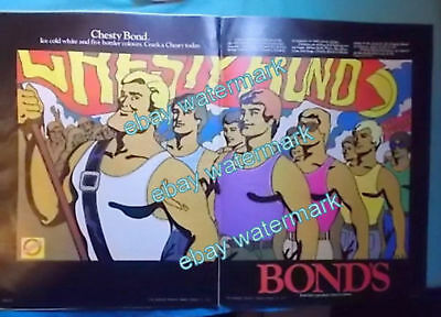 CHESTY BONDS  1974 Retro Advertisement -  Crack a Chesty - Double Page Ad ICONIC