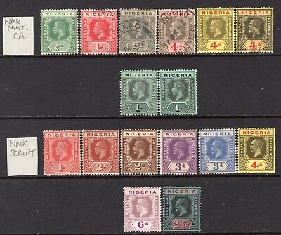 Nigeria KGV 1914-32 Small Selection M/Mint-Used (All Different) Cat £68