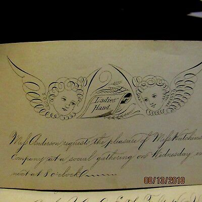 Lor of 3 Pages of antique Calligraphy - penmanship with angels, dove, etc