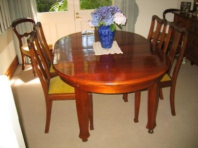 Antique dining table (extendable) and four (4) balloon back chairs