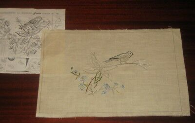 Large Vintage Doily ~ Embroidery To Be Completed ~ Bird ~ Linen ~ Semco No. 743