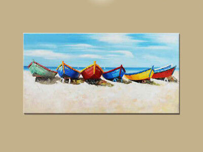 """MODERN ABSTRACT Hand-Painted OIL PAINTING CANVAS """"Colorful Boats""""(No Frame)"""