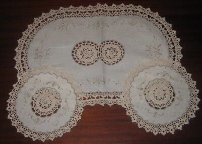 Vintage Embroidered Crocheted Lace Duchess Set ~ Lace Edge ~ Cotton