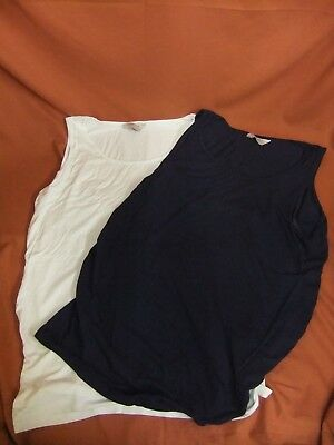 5) Maternity top bundle Size 12 blue white vest top summer t-shirt x 2