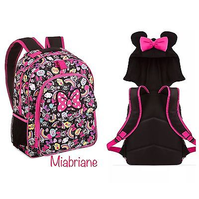 """NWT Disney Store MINNIE MOUSE emoji 16"""" School Backpack with Hood ~FAST SHIP~"""
