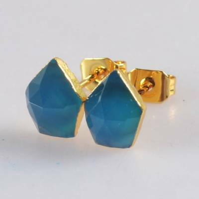 8x6mm Blue Chalcedony Faceted Stud Earrings Gold Plated H120653