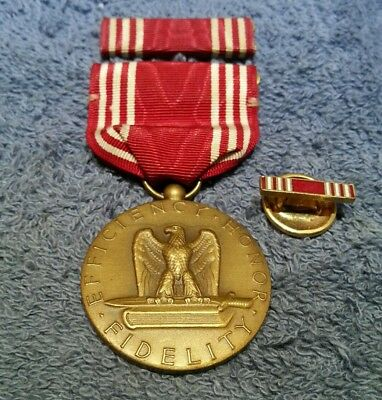 (WWll) MAY 11, 1944 ARMY GOOD CONDUCT RIBBON  MEDAL, BAR, LAPEL BUTTON.EXCELLENT