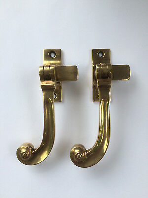 Pair Attractive Vintage Antique Window Sash Brass Handles by LLSLEYS