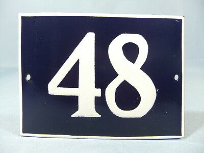 Antique Vintage French Enamel Chic & Shabby Style House Door Plate - Number 48