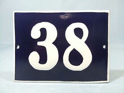 Antique Vintage French Enamel Chic & Shabby Style House Door Plate - Number 38