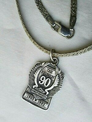 Sterling Silver Harley Davidson Necklace, The Reunion 90, 1903-1993