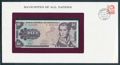 Venezuela: 1981 10 Bolivares Note & Stamp Cover, Banknotes Of All Nations