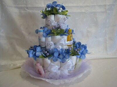 """Diaper Cake Ex Large3Tier Hand Made By Manoush Unisex 19X16"""" All Reusable Items"""
