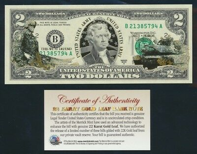 "USA: 2003A $2 ""GOLD HOLOGRAM"" Thomas Jefferson & US Army UNC with Certificate"
