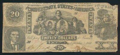 "USA: Confederate States 2-9-1861 $20 ""INDUSTRY & CUPID"". Pick 33 GF - Cat F $67"