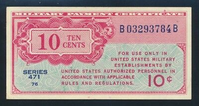 USA: MILITARY PAYMENT CERTIFICATES 1947 Series 471 10 Cents. PM9a EF Cat $40