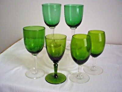 VICTORIAN WINE GLASSES X 6 VARIOUS SIZES &  SHADES OF GREEN HAND BLOWN C.1900's