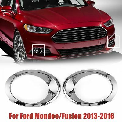 1Pair RH+LH Chrome Fog Light Cover Bezel Trim Ring For Ford Fusion Mondeo 13-16