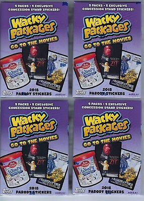 (4) 2018 Topps Wacky Packages Go To The Movies Sticker Cards Ret Blaster Box LOT