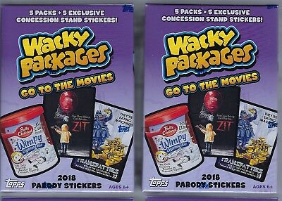 (2) 2018 Topps Wacky Packages Go To The Movies Sticker Cards Ret Blaster Box LOT