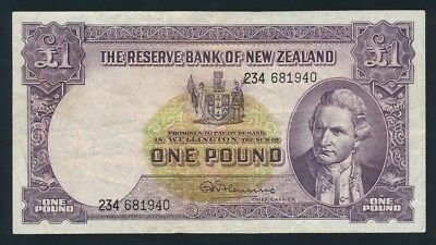 "New Zealand: 1960 LAST ISSUE £1 Fleming ""SECURITY THREAD"". Pick 159d F Cat $30"