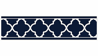 Sweet Jojo Navy and White Trellis Modern Wall Paper Border Room Wallcoverings