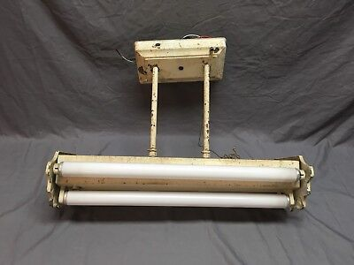 "Vtg 4 Tube 24"" Fluorescent Ceiling Light Fixture Art Deco  Old 412-18E"