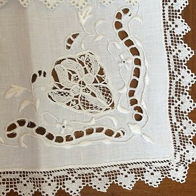 "12 Vtg. Banquet Napkins Embroidery & Lace Insert Trim 15"" Large Gorgeous Detail"